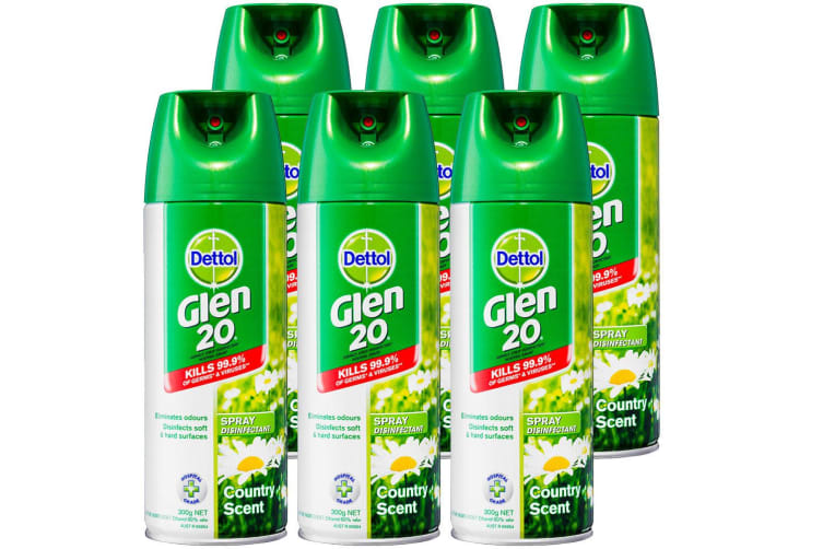 6PK Dettol Glen 20 Disinfectant Spray 300g Kills 99.9% of Germs Country Scent
