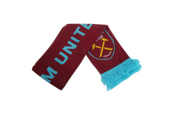West Ham United FC Official Knitted Football Crest Scarf (Sky Blue/Claret)