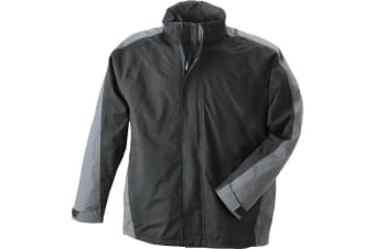 James and Nicholson Mens Two-In-One Jacket (Black/Anthracite Grey) (XXL)