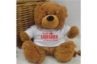 Proud Godfather Personalised Teddy Bear Brown Plush