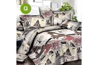Queen Size Eiffel Tower Quilt/Doona Cover Set