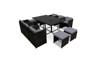 Capetown Dining 10 Seater Set (Black/Grey)