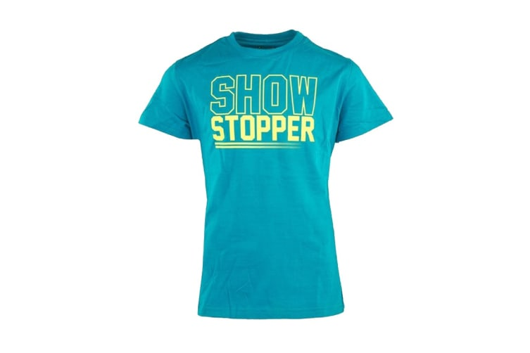 """Under Armour Girls' """"Show Stopper T-Shirt (Teal Blue/Yellow, Size L)"""