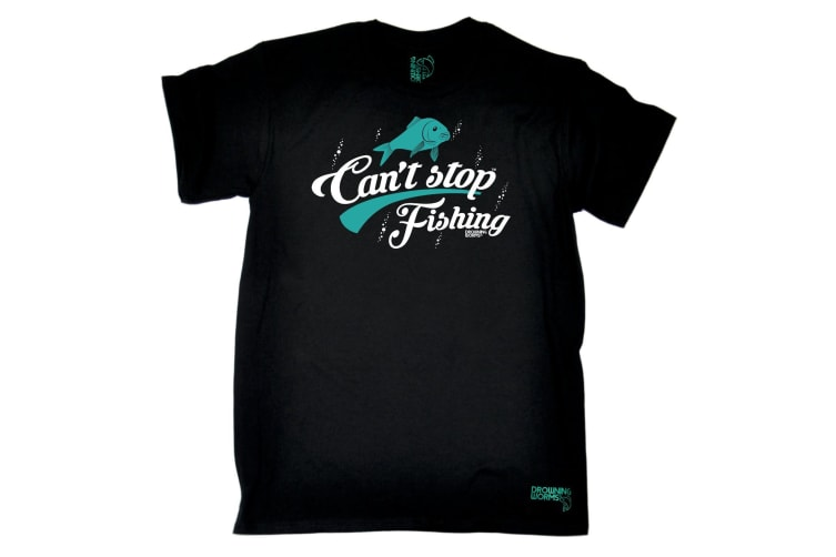 Drowning Worms Fishing Tee - Cant Stop - (XX-Large Black Mens T Shirt)
