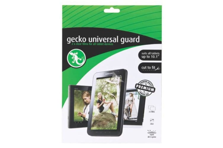 """Gecko 2x Universal Clear Screen Protector for Tablet Up To 10.1"""" Cut To Fit"""