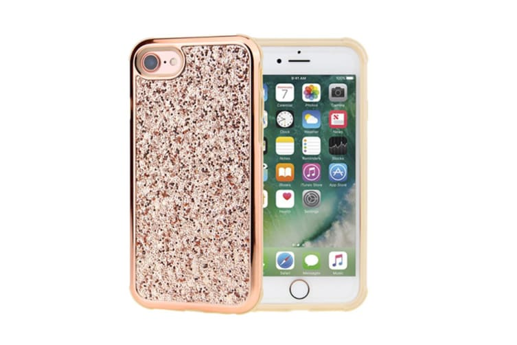 Luxury Bling Sparkly Rhinestone Crystal Hard PC & Soft TPU Inner Shockproof Chrome Bumper Protective Case for iPhone  iphone7plus/8plus