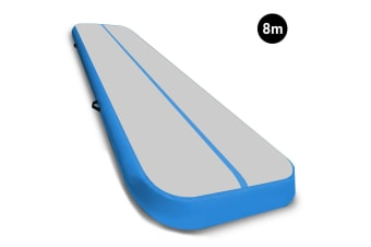 8m Airtrack Tumbling Mat Gymnastics Exercise 20cm Air Track Grey Blue