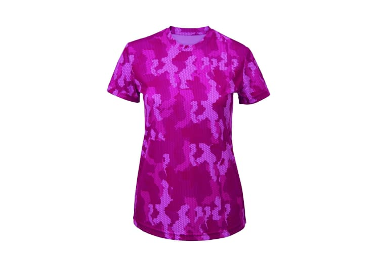 Tri Dri Womens/Ladies Hexoflage Performance Short Sleeve T-Shirt (Camo Hot Pink) (S)