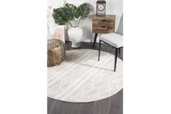 Amelia Bone Ivory & Grey Cable Knit Durable Round Rug 150x150cm