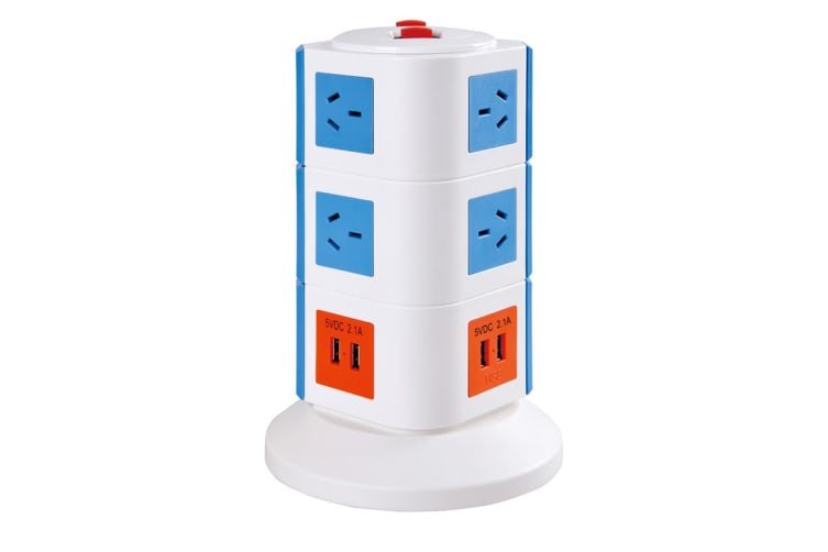 Safemore VPS Original Power Stackr 3 Level with 10 Power Outlets & 4 USB - Blue/Orange (SM-GL2U003-BO)