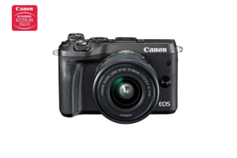 Canon EOS M6 Mirrorless Camera with EF-M15-45mm ST Lens - Black (M6KISB)