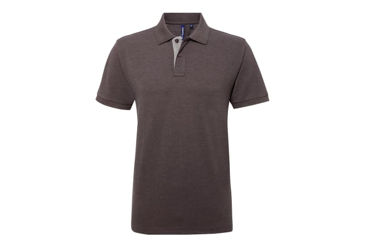 Asquith & Fox Mens Classic Fit Contrast Polo Shirt (Charcoal/ Heather Grey) (3XL)