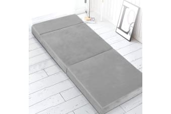 Giselle Bedding Folding Foam Mattress Portable Sofa Bed Mat Lounge Chair Grey