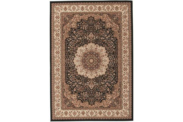 Stunning Formal Medallion Design Rug Black 330x240cm
