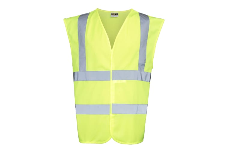 RTY High Visibility Unisex High Vis Sleeveless Waistcoat / Vest (Fluorescent Yellow) (2XL)
