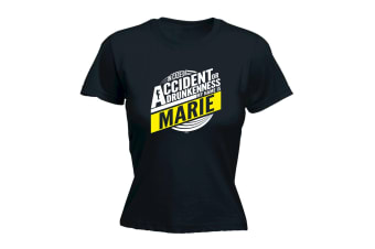 123T Funny Tee - Marie In Case Of Accident Or Drunkenness - (Small Black Womens T Shirt)
