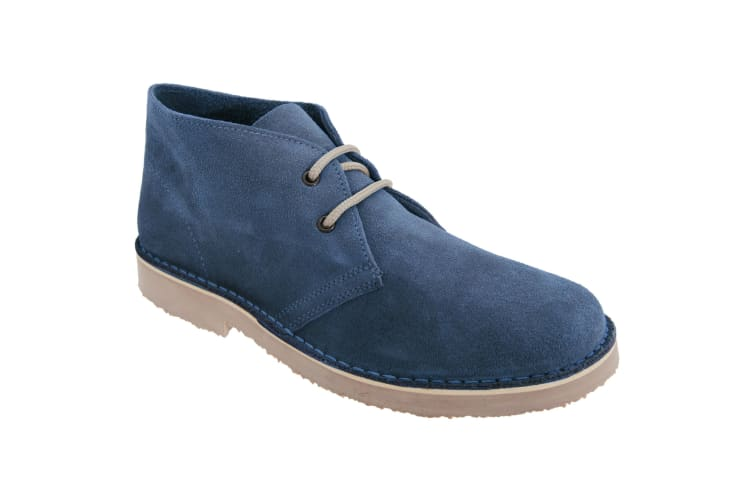 Roamers Mens Real Suede Round Toe Unlined Desert Boots (Navy) (9 UK)