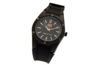 FC Barcelona Mens Chunky Strap Watch (Black) (One Size)
