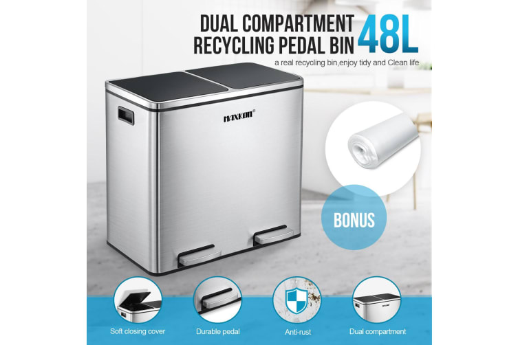 48L Dual Compartment Stainless Steel Dustbin w/ Lids and Pedals