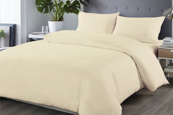Royal Comfort Blended Bamboo Quilt Cover Set (Double, Dark Ivory)