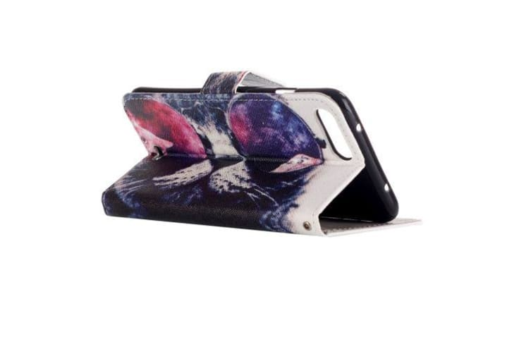 For iPhone 8 PLUS 7 PLUS Wallet Case Cat Wearing Glasses Shielding Leather Cover