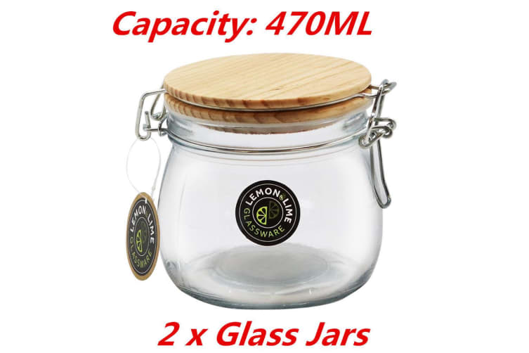 2 x 470ML Round Food Storage Jar Glass Jars Canister Container Wooden Clip Lock Lid