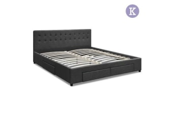 King Size Fabric Bed Frame with Drawers (Charcoal)