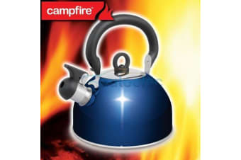NEW STAINLESS STEEL WHISTLING KETTLE 2.5 LITRE CAMPING WATER CAMPFIRE BRAND BLUE