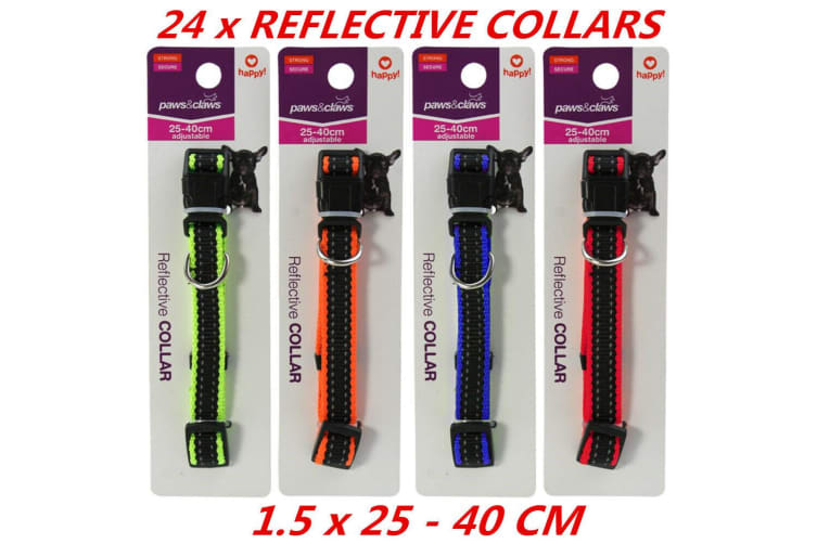 24 x Adjustable Reflective Visibility Dog Cat Collar Pet Puppy Harness Safe 40cm