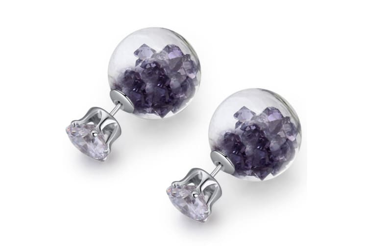 Stardust Bubble Earrings Purple-White Gold/Purple