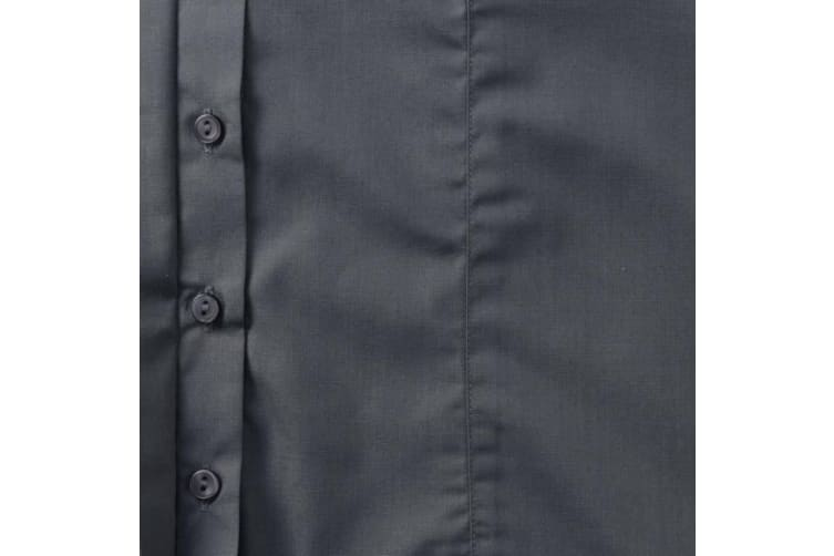 Russell Collection Ladies Cap Sleeve Polycotton Easy Care Fitted Poplin Shirt (Convoy Grey) (2XL)