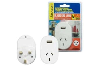 JACKSON Outbound Travel Adaptor 1x USB Charging Port. Converts NZ/Aust Plugs for use in UK