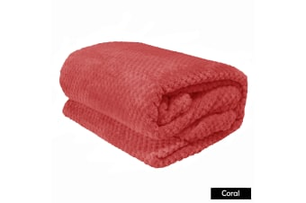 Light Weight Diamond Fleece Blanket Coral by Apartmento