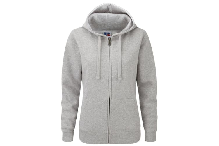 Russell Ladies Premium Authentic Zipped Hoodie (3-Layer Fabric) (Light Oxford) (M)