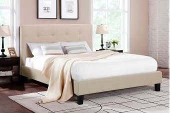 Ovela Bed Frame - Positano Collection (Beige Royal, Queen)