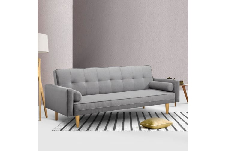 Sofa Bed Lounge Set 3 Seater Futon Recliner Couch Fabric Wood 188cm