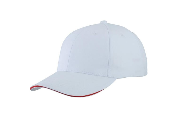 Myrtle Beach Adults Unisex Light Brushed Sandwich Cap (White/Red) (One Size)