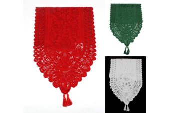 """Christmas Lace Table Runner XMAS Decoration Red White Green [Size:33x90cm (13""""x35"""")]"""