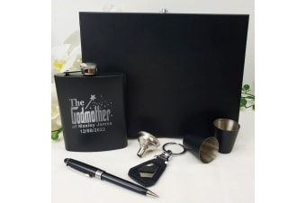 Godmother Engraved Black Flask Gift Set in Gift Box