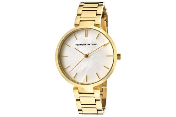 KJ LANE Women's White Mother Of Pearl Dial Gold Tone IP Stainless Steel (KJLANE-1705)