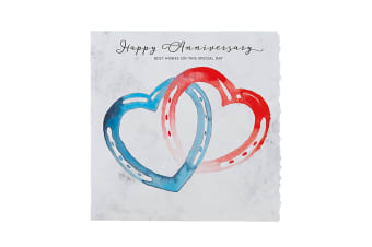 Deckled Edge Fanciful Dolomite Greetings Card (Happy Anniversary - Horseshoe Hearts (Blue/Red))