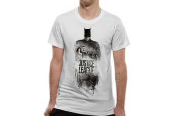 Justice League Unisex Adults Batman Silhouette Design T-Shirt (White)