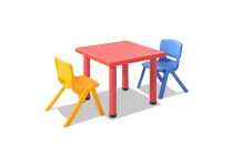 Kids 3 Piece Table and Chairs Playset (Red)