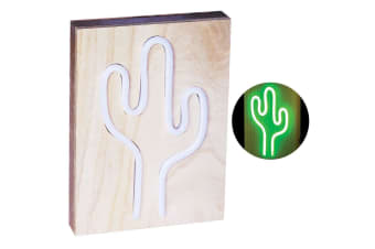 Green Cactus 25cm Neon Light Lamp Sign w/Wooden/Retro Lighting/Home Light Decor