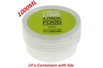 24 x 1000ML ROUND TAKE AWAY CONTAINERS with LIDS DISPOSABLE PLASTIC FOOD CONTAINER