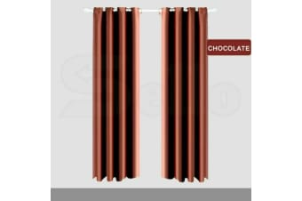 2X Blockout Curtains Panels Blackout 3 Layers Eyelet Room Darkening Pure Fabric  -  Chocolate240x213cm