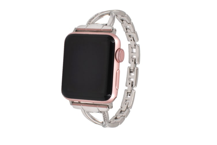 Select Mall Stylish Metal X-shaped Shiny Watch with Steel Strap for Apple IWatch 5 4 3 2 1-Silver 40mm