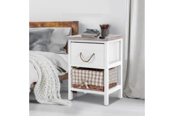 Artiss Bedside Tables Drawers Side Table Chic Storage Cabinet Unit Basket x2