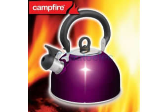 NEW STAINLESS STEEL WHISTLING KETTLE 2.5 LITRE CAMPING WATER CAMPFIRE PURPLE