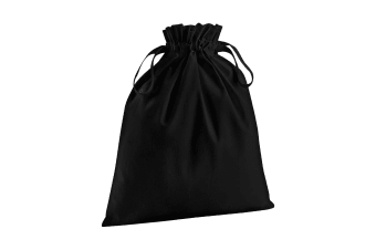 Westford Mill Soft Organic Cotton Drawcord Bag (Pack of 2) (Black)